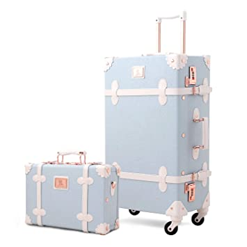 dcc319640f39 Mosslanda Vintage Luggage Sets Spinner Carry On Suitcase with Handbag for  Women