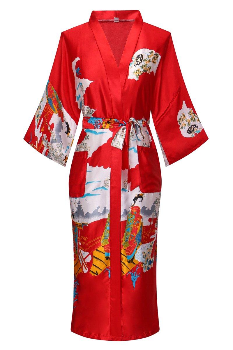 Yukata Women's Japanese Traditional Geisha & Sakura Satin Kimono Robe, Red L