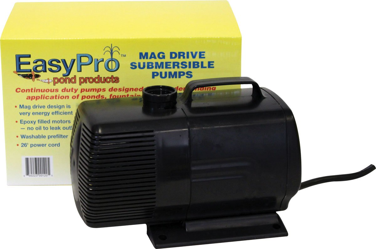 EasyPro EP3200N Submersible Mag Drive Pond Pump, Max Flow 3200 Gallons-Per-Hour