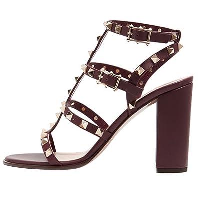 80e807a4f7e Jushee Women s Rivets Studded Slingback Gladiator Shoes Ankle Strap Block  Heel Dress Sandals Brown 13 UK