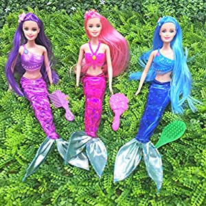 Mermaid Princess Doll Pack for Little Girl's Toy and Play Gift Set