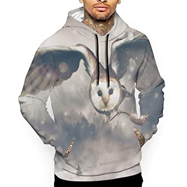 e813ac2d1586 Cute Winter Surreal Owl 3D All Printed Men s Hooded Pullover with Pocket  Casual Hoodies Sweatshirt