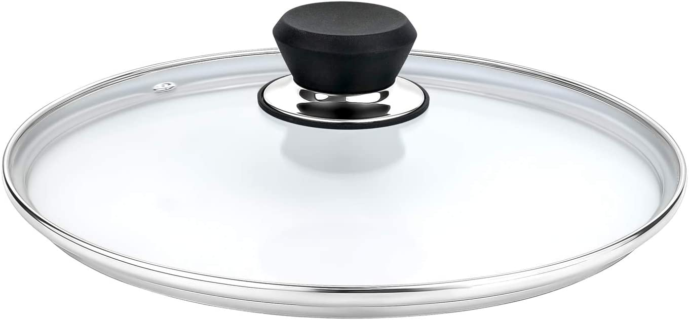 GOURMEX Tempered Glass Cookware Lid with Stainless Steel Rim and Black Handle to Fit Pots, Frying Pans and Skillets, Equipped with Vent Hole, Dishwasher and Oven Safe, Heat Resistant (11.8 Inc 30 cm)