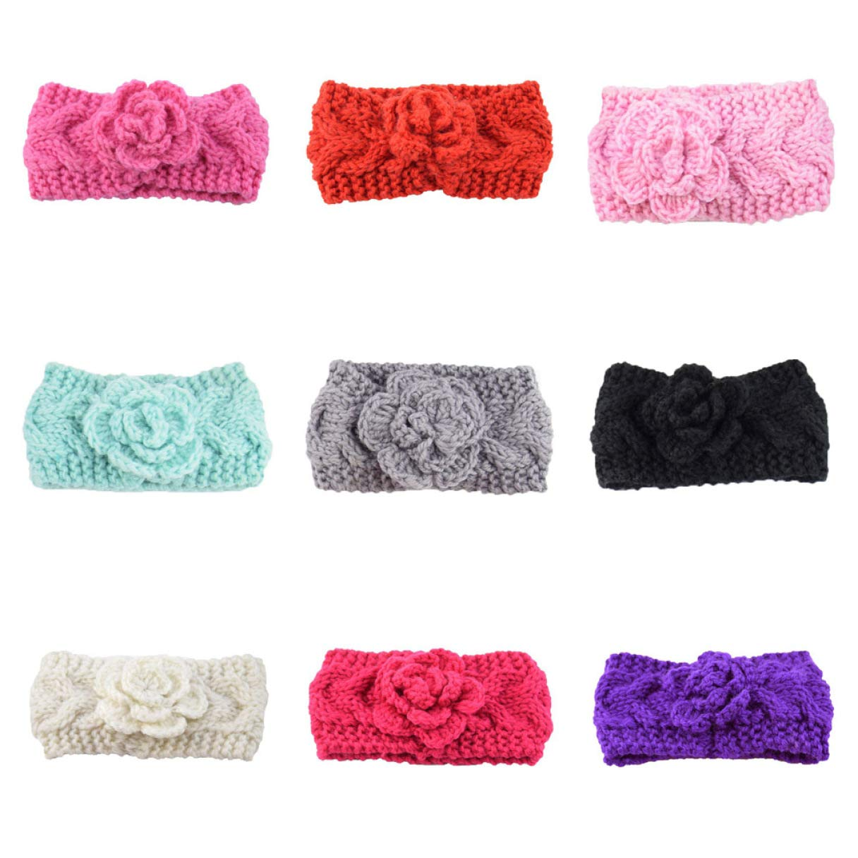BoshILun Spiritual 1Pc Knitting Camellia Twisted Knitted Woolen Set Baby Warm Hair Band Headband Fashion for Birthday Valentines Day Anniversary