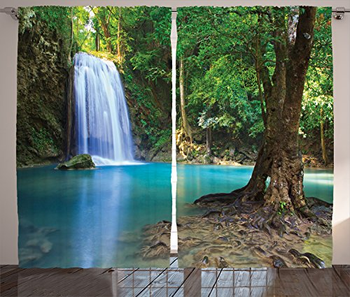 Ambesonne Woodland Decor Curtains By, Waterfall Asia Thailand Jungle Tropic Plants Trees Waterscape Tourist Attraction, Living Room Bedroom Decor, 2 Panel Set, 108 W X 84 L Inches