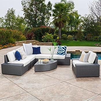 Santa Cruz Outdoor 7 Piece Grey Wicker Sofa Set With Cushions