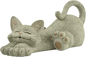 Whimsical Grey Cat Lounging Figurine Cute Collectible - Happy Cat Collection - Cat Lover Gifts for Women, Cat Lover Gifts for Men, Cute Cat Gifts, Cat Office Desk Accessories, Cat Desk Decoration