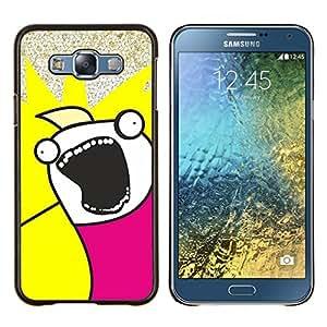 Qstar Arte & diseño plástico duro Fundas Cover Cubre Hard Case Cover para Samsung Galaxy E7 E700 (Funny Face Troll Meme Wtf)