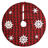 Grelucgo Embroidered Snowflake Christmas Holiday Tree Skirt, Round 36 Inch, Red And Black Buffalo Plaid
