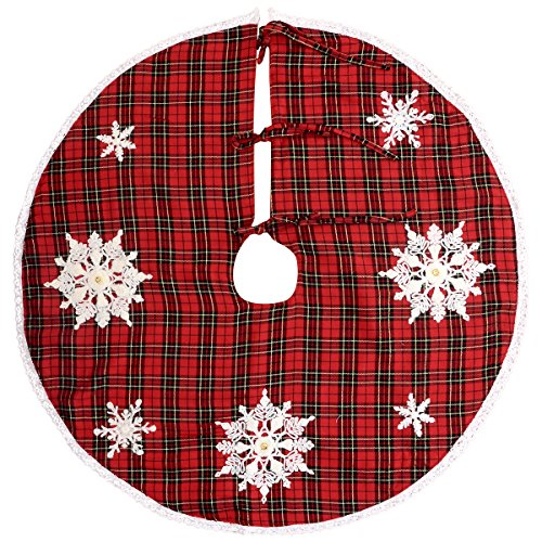 Grelucgo Embroidered Snowflake Christmas Holiday Tree Skirt, Round 48 Inch, Red And Black Buffalo (Snowflake Tree Skirt)