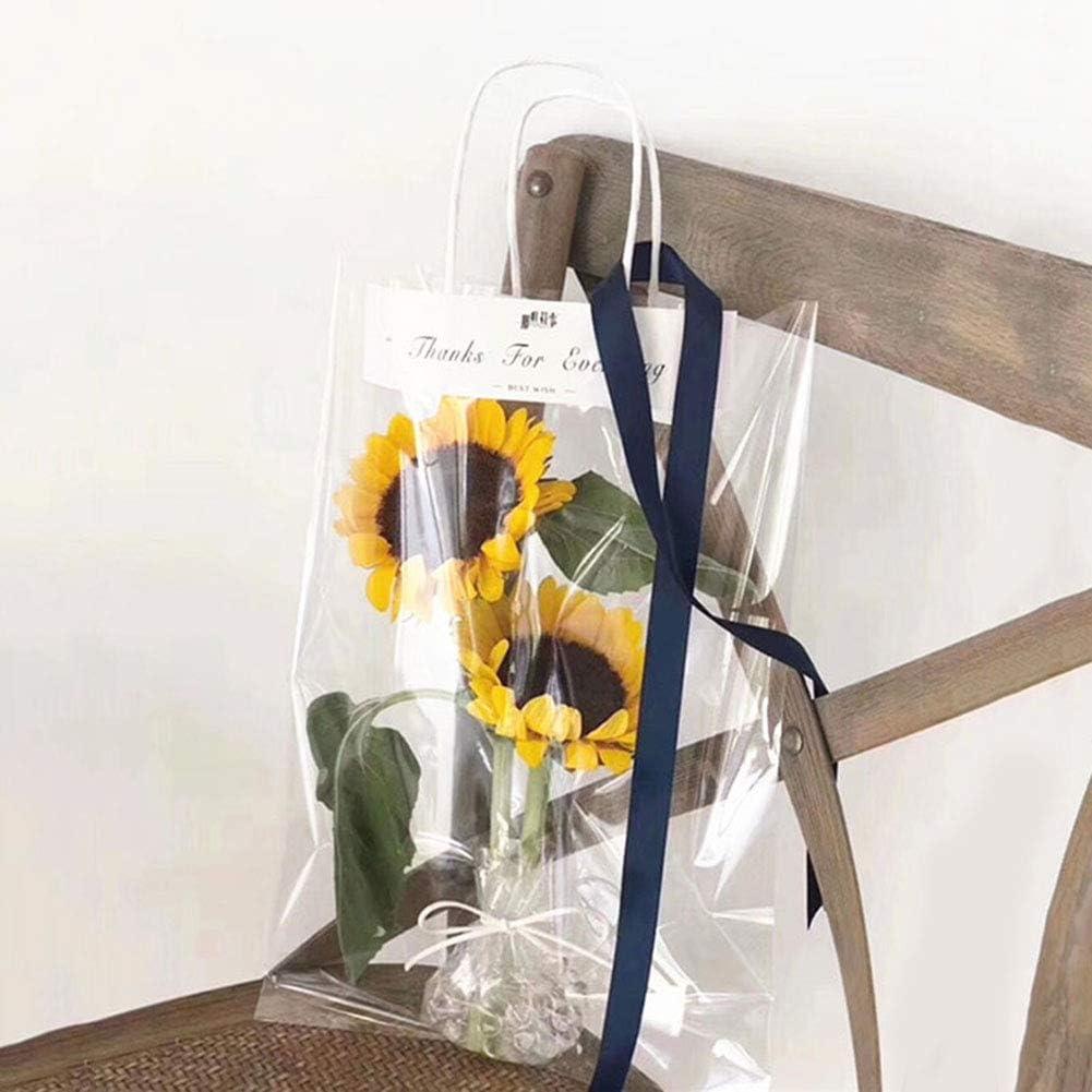Bolsa de regalo transparente con diseño de flores, bolsa de plástico impermeable de rosas, cajas de regalo para plantas de Navidad, decoración de bodas y fiestas, 20 unidades