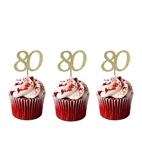 Astonishing Lissielou Number 80 Birthday Cupcake Toppers Pack Of 10 Funny Birthday Cards Online Overcheapnameinfo