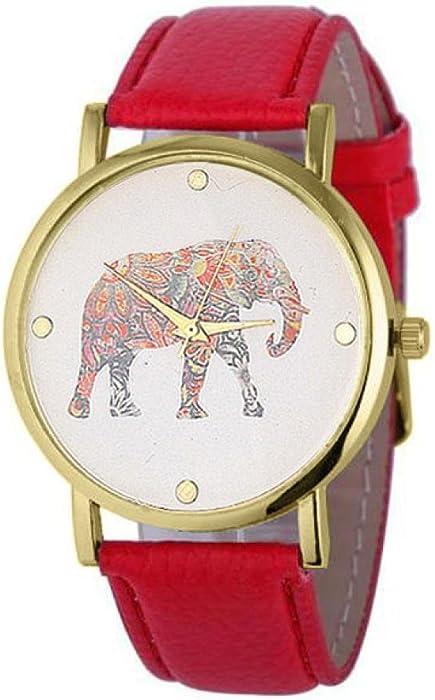 Sunn ywill Mujeres Chica Mujer Bonita Mode elefante Imprimir costura tejida cuero PU cuarzo esfera reloj para estudiantes femenina