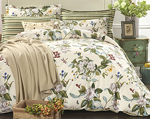 ChezMax 100% Pure Cotton Green Floral Bedding Sheets Set King Size 4-Piece Full Comforter Sets King Duvet Cover Set (Where To Buy Duvet Cover)