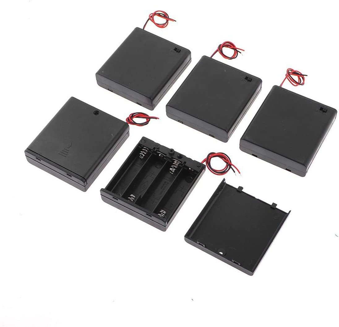 YXQ 5 Pcs ON/Off Switch Cases Holders for 4x1.5V AA Battery in Series