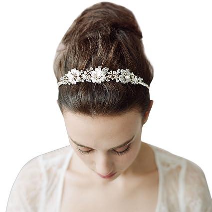 TININNA Vintage elegante sposa fiore di cristallo strass Fascia per capelli  Cerchietto Accessori per capelli Hairband d6fcc7984997