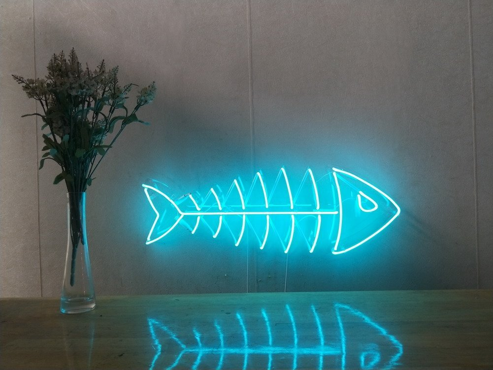 Fishbone Fish Skeleton Real Glass Neon Sign For Bedroom Garage Bar Man Cave Room Home Decor Handmade Artwork Visual Art Dimmable Wall Lighting Includes Dimmer Artist Emily Ryder