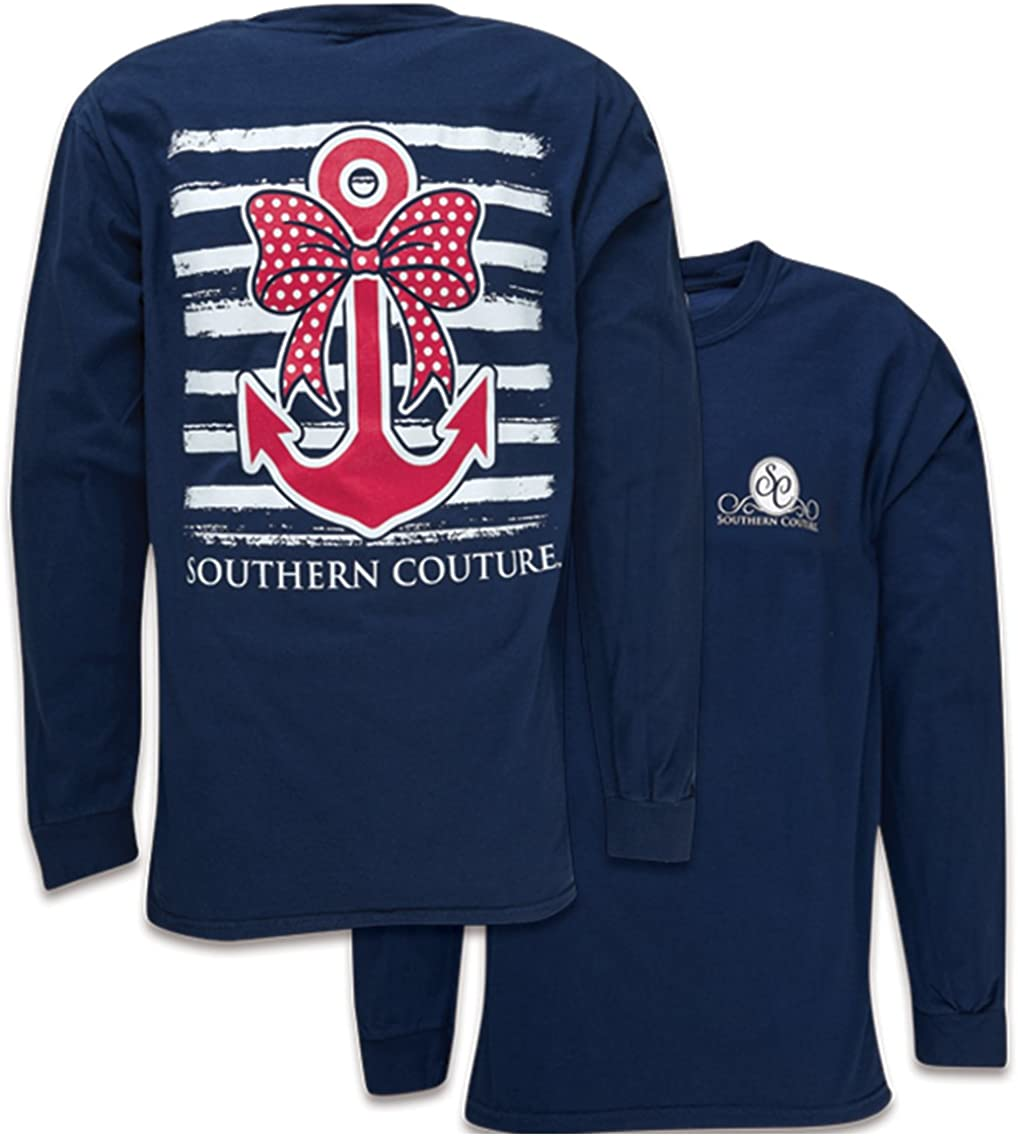 Southern Couture SC Comfort Nautical Bow Anchor on Long Sleeve Womens Fit Shirt - True Navy