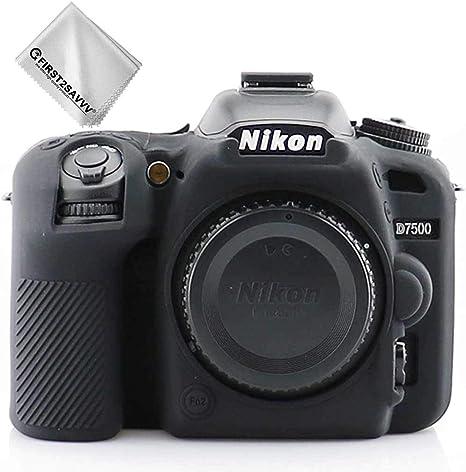 First2savvv Negro Cuerpo Completo Caucho de TPU Funda Estuche Silicona para cámara para Nikon D7500 + paño de Limpieza XJPT-D7500-GJ-A01G11: Amazon.es: Electrónica