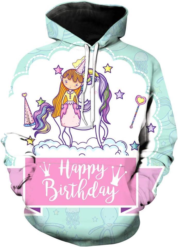 FGVBWE4R Regalo de cumpleaños 2019 Unicornio Sudadera con Capucha Niño Feliz cumpleaños Viernes Negro niños
