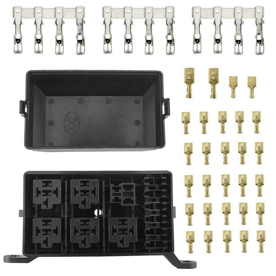 Set di Blocchi Scatola portafusibili Lama 6Slot ForceSthrength Rel/è Universale 6 V CC Universale per Auto 12V DC