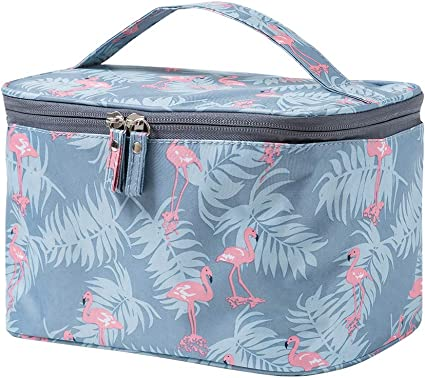 JunNeng Large Makeup Bags,Travel Waterproof Cosmetic Bag Temperament Organiser Storage Pouch For Women (Blue Flamingo)