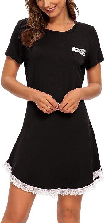 Unifizz Women Soft Nightdress Short Sleeve Lounge Wear Casual Sleepwear Nighties Nightshirts Loose T-Shirt Dresses