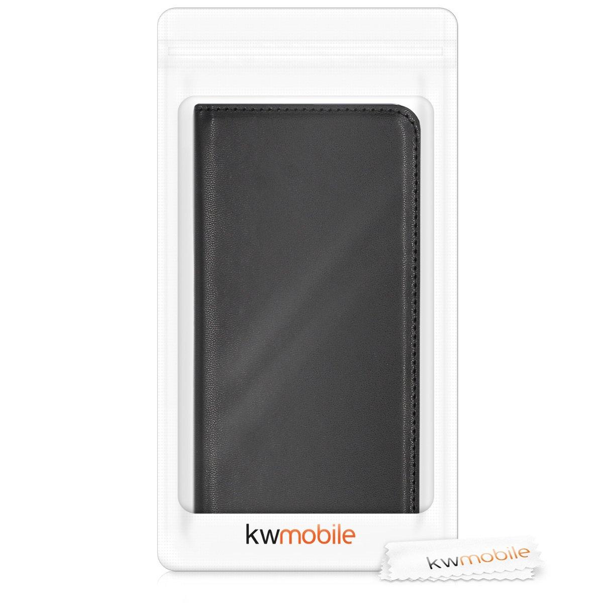 en Cuero sint/ético kwmobile Funda para Huawei Honor 7X // Mate SE - Case Plegable Carcasa para m/óvil de Negro