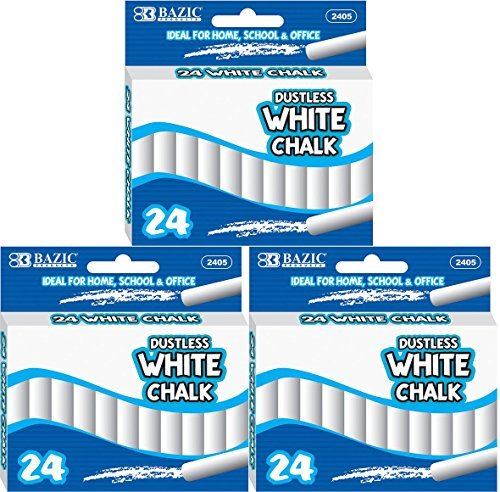 3 Pk, Dustless White Chalk, 24 per Box (Total of 72) by Bazic