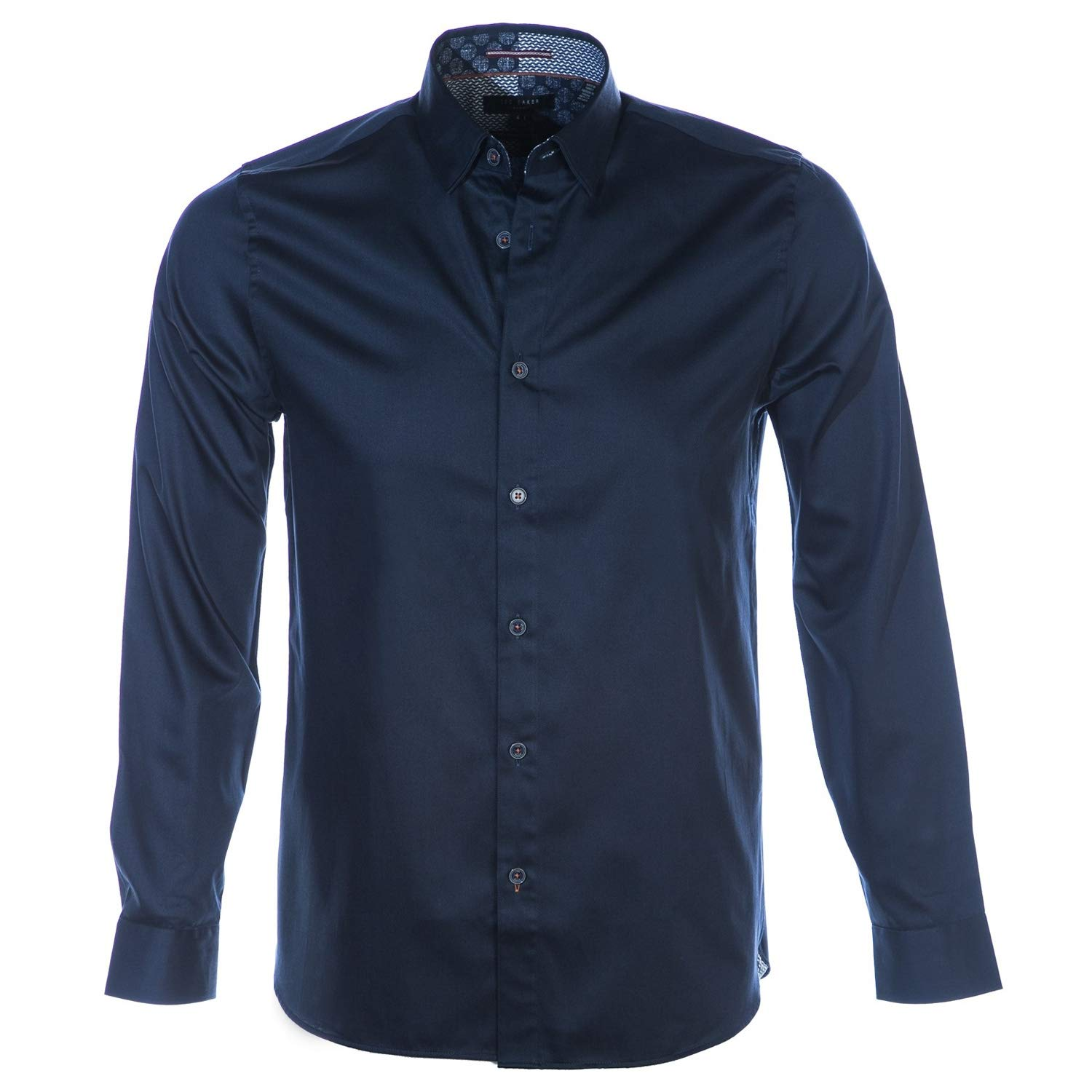 e27cf72ba4348 Ted Baker Plateen Satin Stretch Shirt in Navy Blue Medium  Amazon.co.uk   Clothing