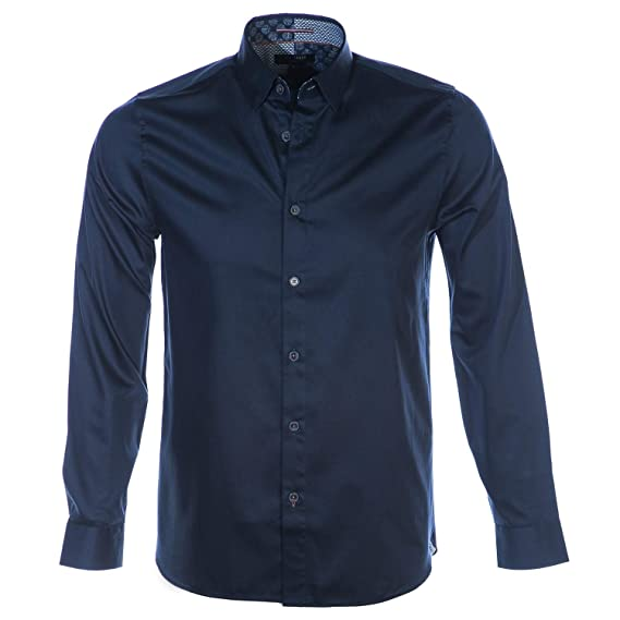 e687a3e76bfd25 Ted Baker Plateen Satin Stretch Shirt in Navy Blue Medium  Amazon.co.uk   Clothing