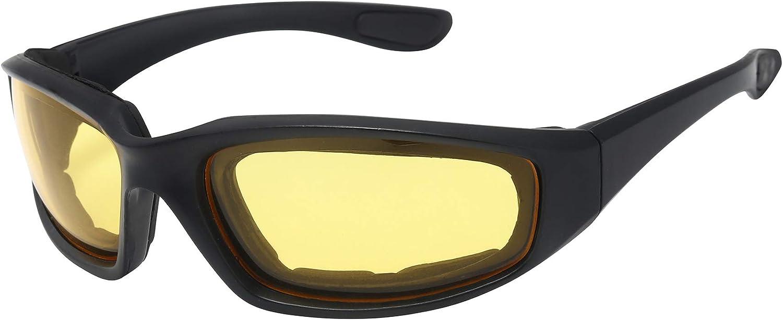 ASVP Shop Lunettes de moto rembourr/é en mousse de contour avec doublure en mousse et jaune Verres teint/és