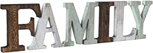 U/C Family Wall Decor Signs,Freestanding Cutout Family Letters Sign,Farmhouse Tabletop Decor,Rustic Wood Family Letter Home Decor Signs for Mantel Fireplace Decor Bedroom Living Room.