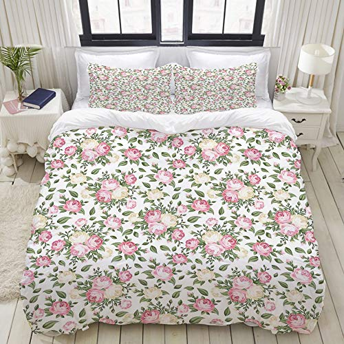 - VAMIX Roses Rosebuds Leaves Bouquet Flower Arrangements Bridal Victorian Style Home Bedding Decorative Custom Design 3 PC Duvet Cover Set Twin