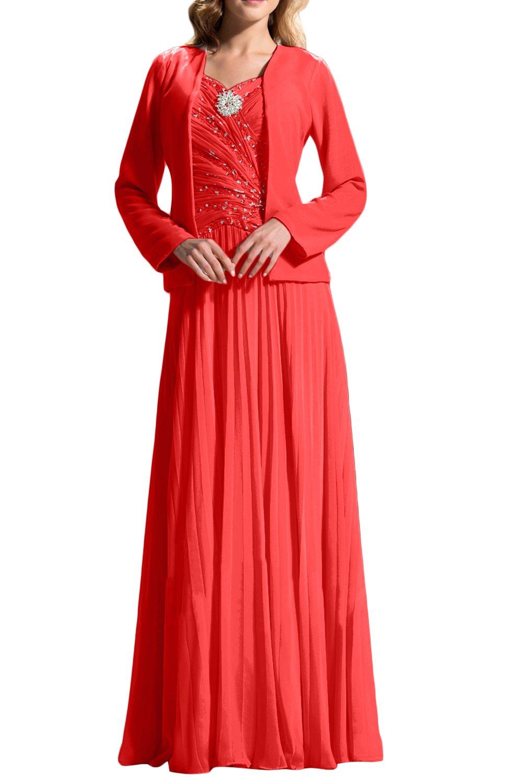 (ウィーン ブライド)Vienna Bride 披露宴用母親ドレス ロングドレス 結婚式母親用ドレス 新婦の母ドレス 長袖 ベスト付き Aライン 肩紐 スパンコール ひだ カラードレス ブルー レッド シャンパン 優雅 B07CLYLLKD 17|レッド レッド 17