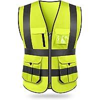 Tomshin Colete de segurança reflexivo de alta visibilidade Colete refletivo de vários bolsos Roupas de trabalho…