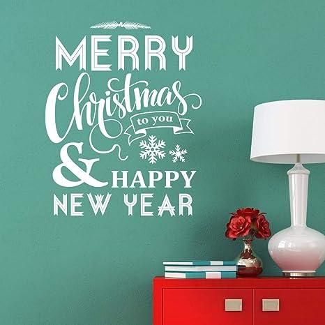 Feliz navidad calcomanía de vinilo feliz año nuevo que dice ...