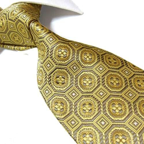 Extra Long Microfibre Tie by Towergem,Golden Classic Polyester XL Men's Necktie 63