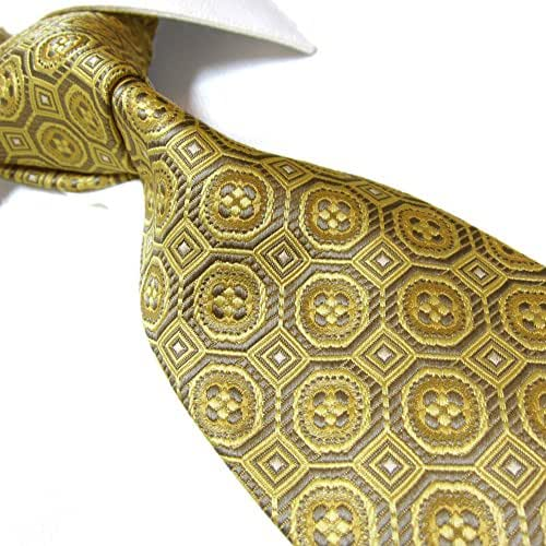 Extra Long Microfibre Tie by Towergem,Golden Classic Polyester XL Men's Necktie 63