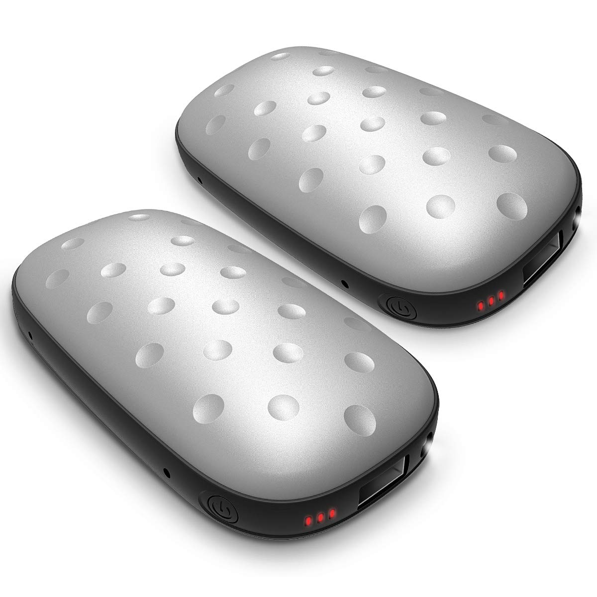 UTOPER Electric Hand Warmers [2 Pack] 5200mAh Rechargeable USB Pocket Hand Warmer Double-Side Heating Portable Phone Battery Charger Power Bank Winter Gift for Lover Parents Kids (Silver) by UTOPER