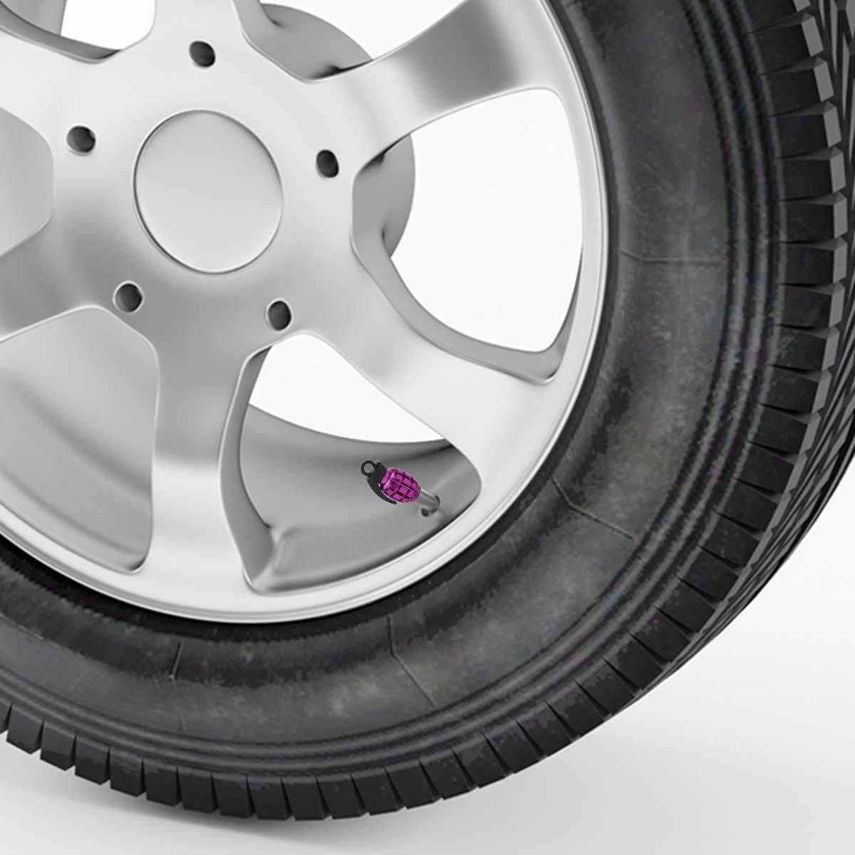 Winka Grenade Style Black Aluminum Tire Wheel Valve Stem Caps for Car Truck Motorcycle Bike
