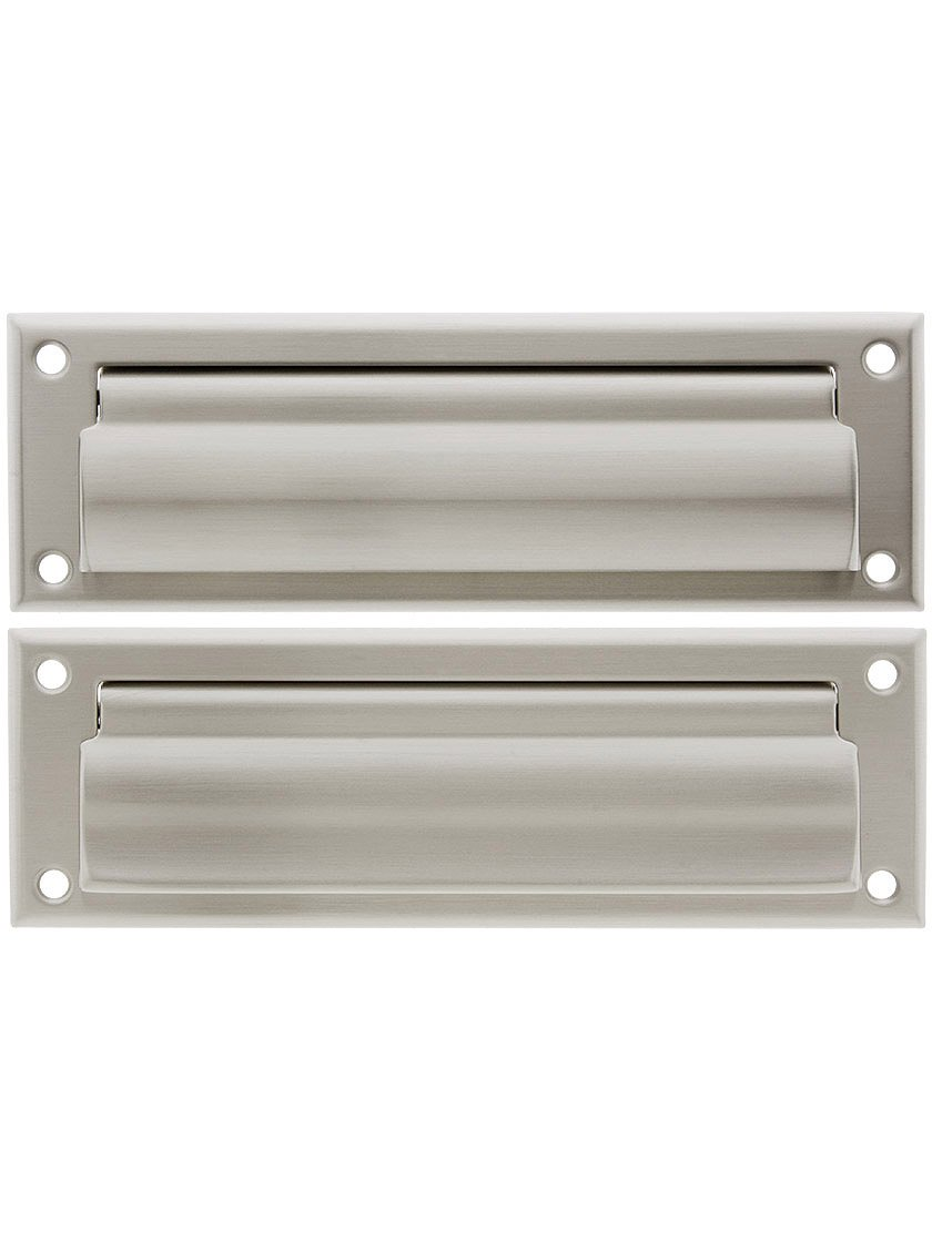 Solid Brass Letter Size Mail Slot with Closed Backplate in Satin Nickel.