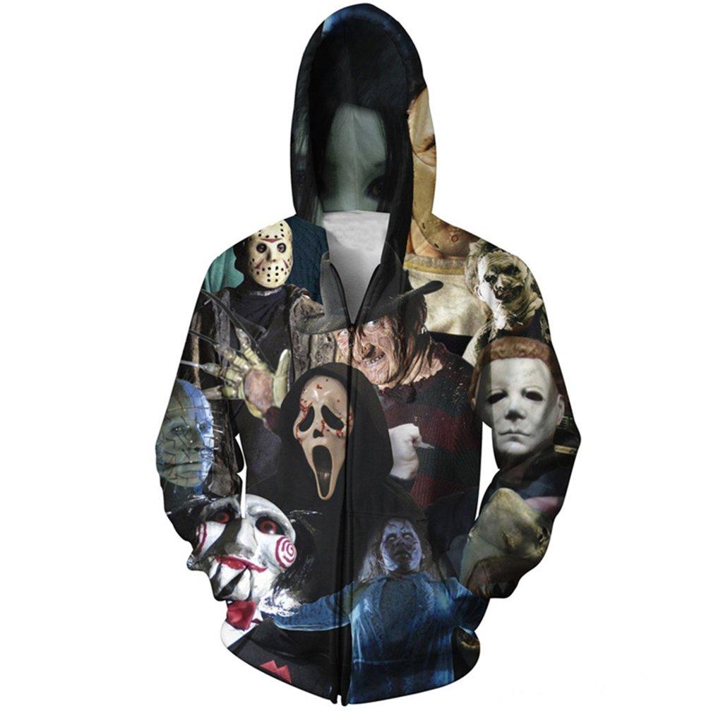 aa4ea326508 Yuehen Horror 3D Zipper Hoodies Men Women Long Sleeve Autumn Winter Pullover  Hoody Tops Casual Outwear Jacket Coats at Amazon Men s Clothing store