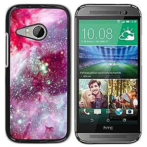 Caucho caso de Shell duro de la cubierta de accesorios de protección BY RAYDREAMMM - HTC ONE MINI 2 / M8 MINI - Cosmos Space Purple Stars