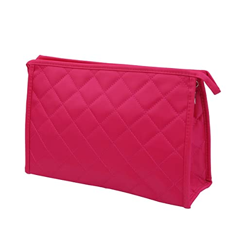 cf85bc4be54d Premium Large Quilted Cosmetic Travel Makeup Bag Pouch Organizer Fuchsia