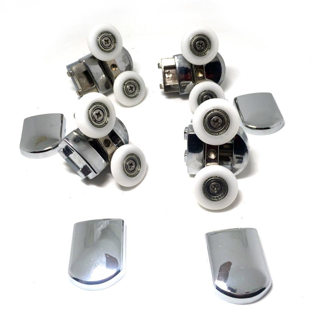 En chrome Lot de 8/roues de fixation de rechange pour porte de douche en verre Pour porte en verre de 4/à 6/mm d/'/épaisseur 4/roues inf/érieures et 4 roues/sup/érieures