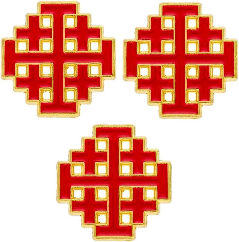 Jerusalem Cross Lapel Pins Gold & Red (3 Pins)- Christian Dicipleship