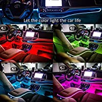 USB Neon EL Wire for Car Interior Bike Cosplay Festival Decoration LED Glowing Electroluminescent Wire Light Cold Lights with Drive Light Lamp Glow String Strip 12V 2M, Purple