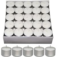 Nanki Trades Long Burning Round Wax Tea Light Candles (3.7 cm x 3.7 cm x 2.5 cm, White, Set of 50)