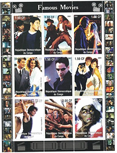 Stamps for collectors - Movie perforfated stamp sheet featuring Romeo Must Die / Pretty Woman / Matrix / Austin Powers / (Austin Powers Ladies)